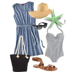 Fun nautical beach day outfit. Created by mckinley3 on Polyvore.