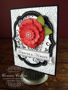 handmade card  ... luv the dimensional red flower ... framelits dies and vintage wallpaper embossingn ... like the black layered framelit with white polka dots around the edge ...