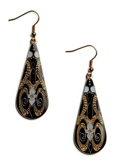 Introduce a little bit of exquisiteness into your jewelry box by adding these gorgeous, gilded earrings into your collection. Crafted in an elegant teardrop shape and featuring an Art Nouveau-inspired design of lilies, rhinestones, glitter, and gold swirls inset in onyx enamel, these glamorous gems will bring the elegance of another era into your ensembles.