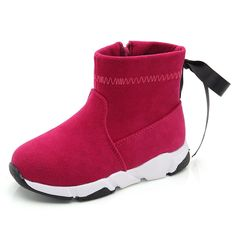 b52afd55d26b7 US 23.76 - Girls Pure Color Bowknot Decor Zipper Warm Lining Boots Girls  Shoes