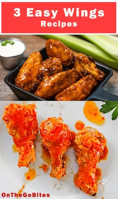 Super easy wings recipes. We give you baked chicken wings, grilled chicken wings and sticky Asian wings. Hot wings with different sauces from Buffalo wing sauce to asian marinade. Great for picnics, parties or tailgates. Serve hot or cold. OnTheGoBites.Com #wingrecipes #hotwings #bakedwings #grilledwings