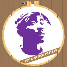 Seriously.  She's got Tupac, Madonna, Bob, Snoop, Easy, Biggie, Kurt...awesome. PATTERN ONLY - Counted Cross Stitch Pattern PDF, Tupac. $4.00, via Etsy.