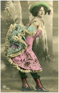 Vintage Can Can Dancers French postcard of cancan