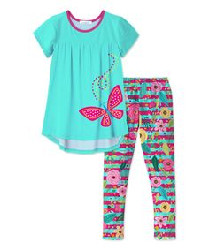 Take a look at this Blue & Pink Butterfly Tunic & Floral Leggings - Toddler & Girls today!