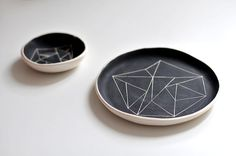 set of two BW black ceramic plate and saucer by ignataceramics