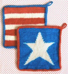 Free pattern for simple knit, then felted, patriotic pot holders.  Would be cute in other color combos as well.