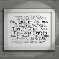 The Waterboys This Is The Sea limited edition typography lyrics art print, signed and numbered album wall art poster available from www.lissomeartstudio.com
