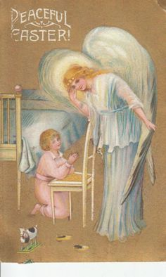 """ANGEL LISTENING TO LITTLE GIRL PRAYING """"PEACEFUL EASTER""""ANTIQUE POSTCARD"""