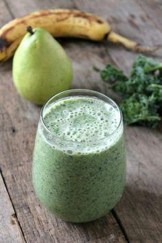 recette smoothie vert détox rès délicieuse, smoothie aux poires, bananes et chou kale