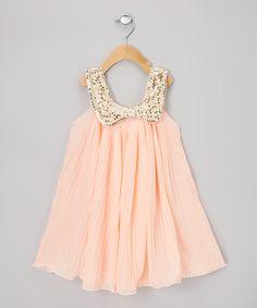 Light Pink Pleat Sequin Swing Dress - Infant, Toddler & Girls