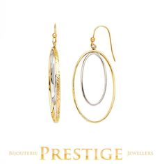OVAL DOUBLE LOOP LARGE DANGLE EARRINGS 10KT YELLOW AND WHITE GOLD