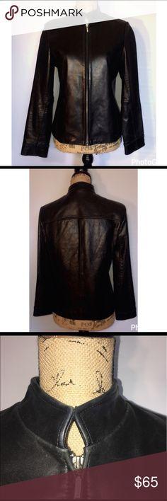 Black leather jacket Black genuine leather jacket size medium zip up front good used condition soft leather Petite Sophisticate Jackets & Coats