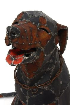 from a sculpture series Working Dogs by Hannah Kidd, Mack (detail), steel rod, corrugated iron