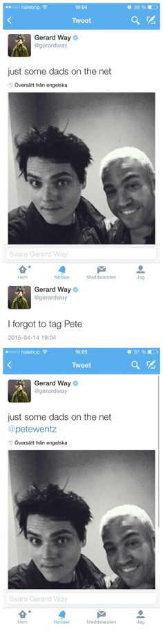 gerard way and pete wentz - two dads on the net - the thrilling saga ✧