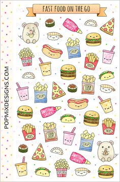 Kawaii stickers of fast food like pizza burgers fries taco sushi hotdog and other junk food for planning journals calendars diaries scrapbooking arts and crafts Decorate. Cute Food Drawings, Cute Kawaii Drawings, Kawaii Doodles, Cute Doodles, Doodle Drawings, Easy Drawings, Doodle Art, Food Doodles, Bullet Journal Ideas Pages