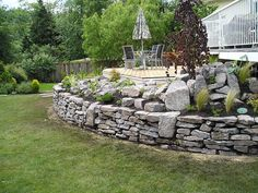 natural stone wall deck