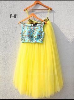 Yellow Flared Lehenga with Turquoise Blue Crop Top by Designer Anisha Shetty Indian Gowns Dresses, Indian Fashion Dresses, Indian Designer Outfits, Indian Outfits, Designer Dresses, Fashion Outfits, Fashion Clothes, Trendy Fashion, Dress Fashion