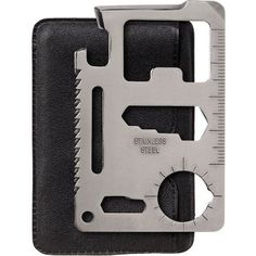 Smaller than a credit card, this amazing gadget contains 11 functioning tools in one: can opener, knife edge, screwdriver, ruler, 4 position wrench, butterfly screw wrench, saw blade, 2 position wrenc