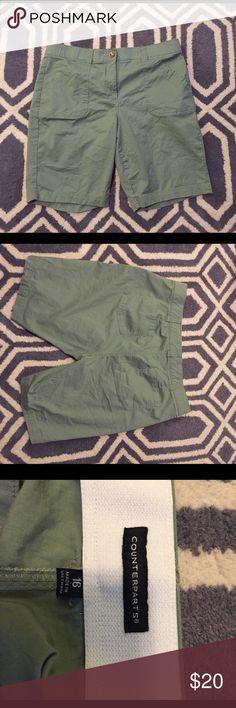 Olive green Bermuda shorts Never worn! Olive green bermudas. Size 16 Counterparts Shorts Bermudas