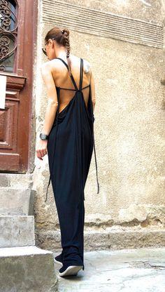 Sexy Summer Maxi Black Ribbed Dress from AAKASHA  by DaWanda.com
