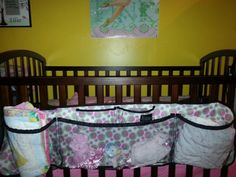 Store sheets, blankets, toys and pacifiers in a hanging organizer on the crib! This one is from Clever Container and is called Cargo Pockets http://www.mycleverbiz.com/roseswinson/