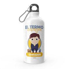 Termo - El termo del mejor contador, encuentra este producto en nuestra tienda online y personalízalo con un nombre. Water Bottle, Drinks, Carton Box, To Sell, Store, Crates, Drawings, Drinking, Beverages