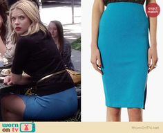 Hanna's black top and blue pencil skirt on Pretty Little Liars.  Outfit Details: http://wornontv.net/34344/ #PLL