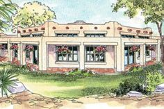 Stucco walls, stepped parapets, and exposed log ends are characteristic of this pueblo style home. Inside this southwestern home plan, natural light washes into a high-ceilinged hexagonal great room w Spanish Revival Home, Spanish Style Homes, Spanish House, Southwestern Home, Southwest Style, Southwestern Decorating, Bungalows, Santa Fe Style, Adobe House