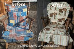 Check out this incredible makeover done on a child's rocker using KAM plastic snaps. For the complete picture gallery showing where the sna. Old Rocking Chairs, Rocking Chair Makeover, Kam Snaps, Learn To Sew, Gliders, Cloth Diapers, New Look, Organizing, Origami