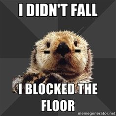 Roller Derby Otter - I didn't fall I blocked the floor