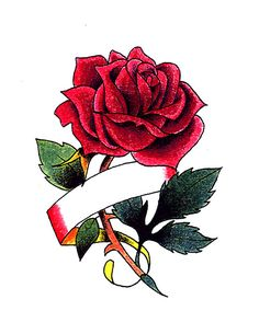 Rose Tattoos with 5 Ribbons | Red Rose With Ribbon For Name Tattoo