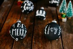 diy: faux chalkboard Christmas ornaments — the farmer's daughter