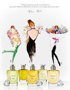 vintage - dior - parfums - rene gruau Vintage Dior, Vintage Perfume, Vintage Beauty, Christian Dior, Pierre Balmain, Jacques Fath, Marie Claire, Beauty Products Labels, Dior Forever