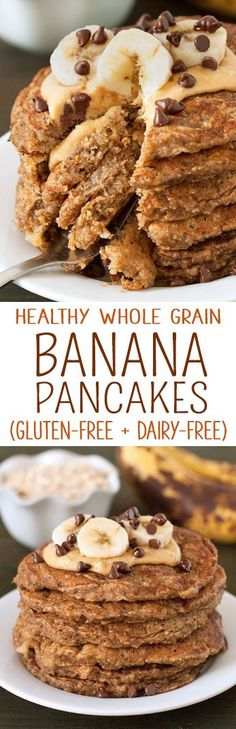 These healthy banana pancakes are our favorite! They're like banana bread in pancake form. {gluten-free, dairy-free, whole grain, banana-sweetened} (Chocolate Banana Pancakes) Gluten Free Banana, Sem Lactose, Banana Recipes, Healthy Treats, Healthy Foods, Dairy Free Recipes, Breakfast Recipes, Vegetarian Breakfast, Going Vegetarian