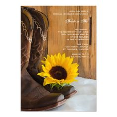 Invite your friends and family to a pre wedding party honoring the bride to be with the pretty Country Sunflower Bridal Shower Invitation.