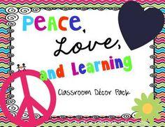 Peace, Love, and Learning Classroom Decor