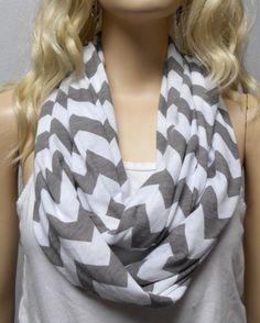 White & Gray Chevron Print  Infinity Scarf by GypsysWildHeartShop, $14.00