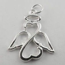 Cute Silver Plated Angel With Halo Charm by InspirationsForEver
