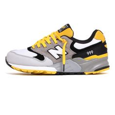 New Balance ML999WSB 'Elite Mecha' Sneakers Grey Yellow Black ($120) ❤ liked on Polyvore featuring shoes, sneakers, black shoes, new balance sneakers, grey sneakers, black yellow shoes and yellow sneakers