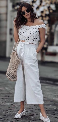 casual style inspiration / off shoulder crop top + wide pants + bag + white flats
