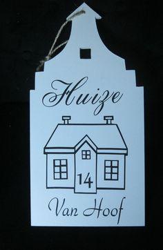 naambordje voor aan de voordeur. 20x40cm Aangevuld met jou huisnummer en achternaam