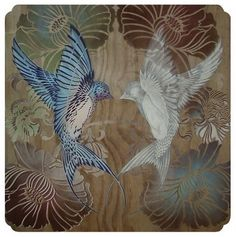 Fab work by Flox (and other sweet art) @ Pretty Sweet Things New Zealand Art, Bird Ornaments, Beautiful Artwork, Artist Painting, Bird Art, Chinese Art, Blue Brown, Shades Of Blue, Printmaking