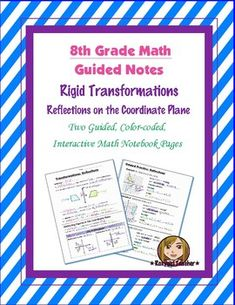 This is two 8th Grade Common Core guided, color-coded notebook pages for the Interactive Math Notebook on the concept of Rigid Transformations and Reflections. Included is color-coded academic vocabulary for reflections.