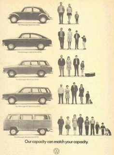 Vintage VW Ad of my first car VW Bug and my parents/our family car VW Fastback. #VW #Bug