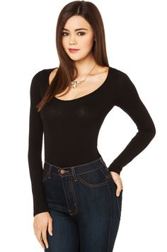 AKIRA's Long Sleeve Bodysuit in Black features a front scoop neck, long sleeves with a rolled hem at cuffs, and two snap closures at crotch. Free standard U.S. shipping $75+.