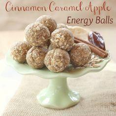 Cinnamon Caramel Apple Energy Balls- look like a yummy healthy travel day snack