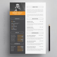 I'll design you a resume that stands out, highlights your distinctions, and throws a powerful impression on the HR department of your prospect companies. Resume Template Examples, Resume Template Free, Creative Resume Templates, Templates Free, Resume Design, Web Design, Print Design, Modern Design, Infographic Resume