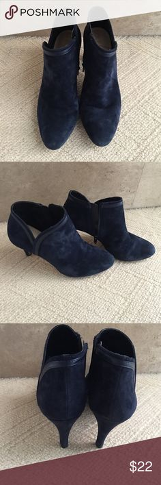 """Beautiful Blue Suede Boots Sole Society Blue Suede Boots Size 8.            An ankle bootie crafted from lush suede with a curved top line for a flattering shape. Features a pointy toe, faux leather trim, and a slender walkable heel. Material: Suede Heel Height: 3 1/4"""" Fit: True to size Shoe Width: Medium                                                  Slight imperfection? Stain on left boot see picture 5 Sole Society Shoes Ankle Boots & Booties"""