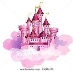 Vector pink princess magic castle. - stock vector
