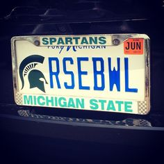 The best plates always find me! Michigan State Football, College Football Teams, Michigan State Univeristy, Spartan Life, Funny License Plates, Msu Spartans, State Street, Alma Mater, Red Cedar